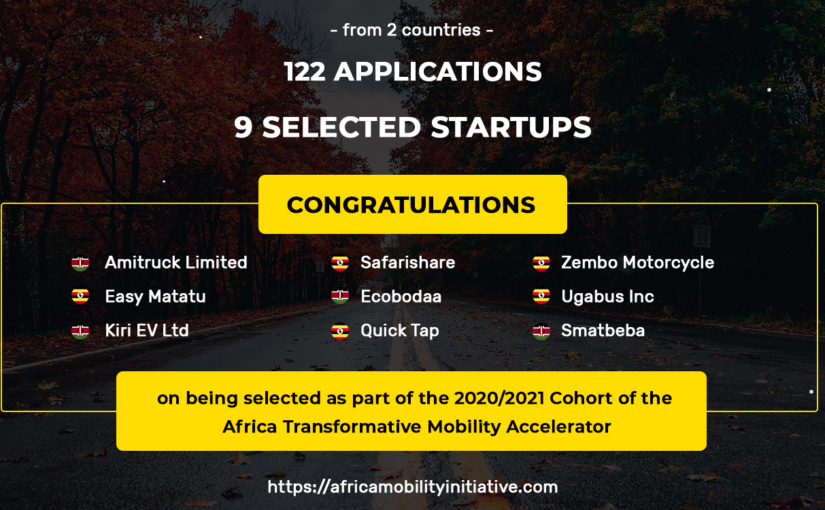 9 Startups Admitted to the Africa Transformative Mobility Accelerator (ATMA)